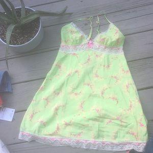 90s babydoll grunge NEON green floral slip dress